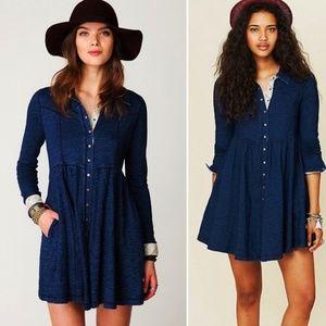Free People Denim Knit Shirt Dress Size Large EUC